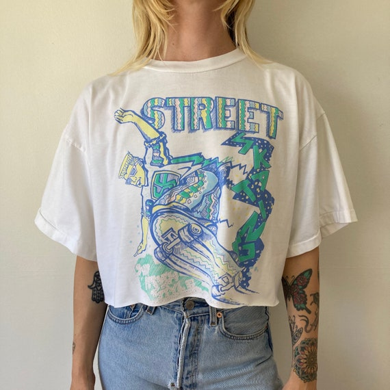 80s Street Skating Cropped T shirt // Crop Top //