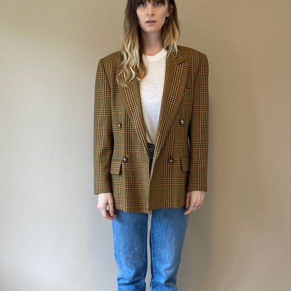 90s Plaid Blazer // Lined Plaid Jacket // Small -