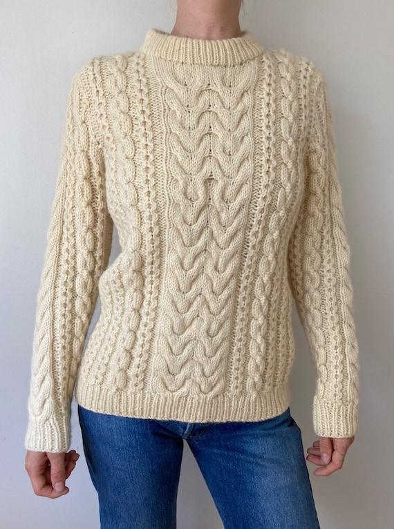 90s Wool Hand Knit Fisherman Sweater // Small