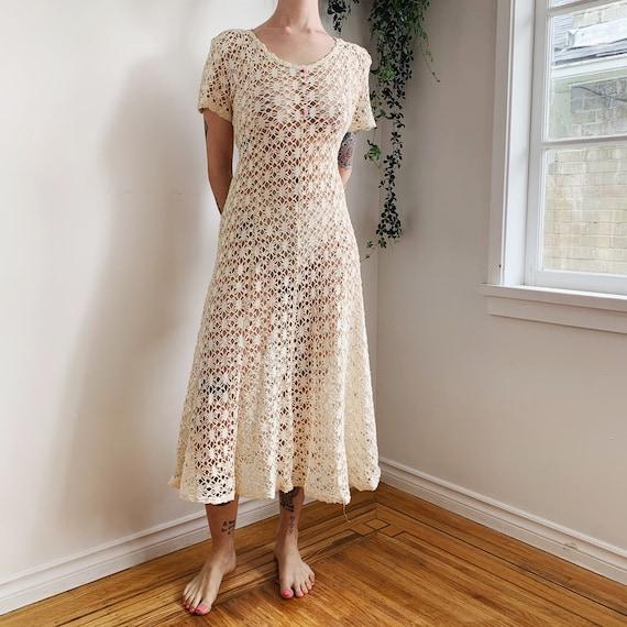 1970s Cream Crochet Knit Dress // small - medium