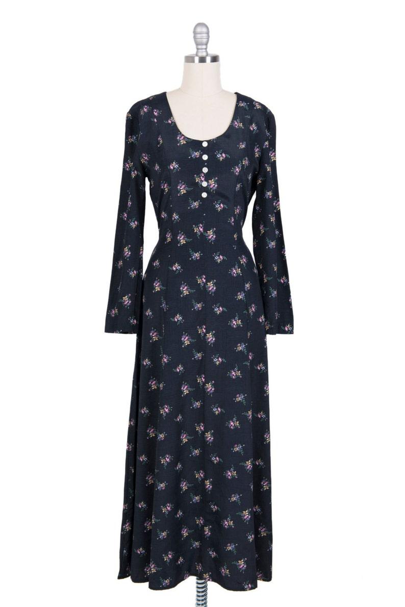 89e4499e09ff85 Vintage 70s black silky long dress with flowers 1970s boho | Etsy