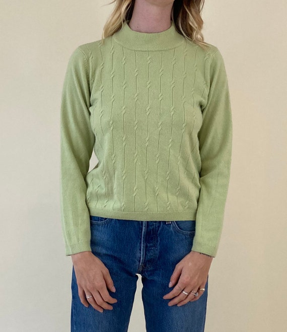 90s Lime Green Knit Mock Neck Sweater // Small