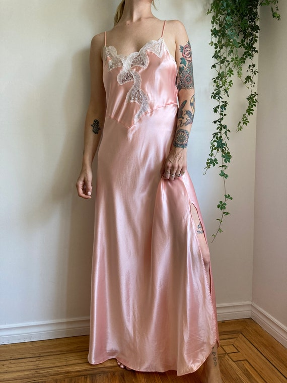 80s Pink Satin Night Dress // Lace Night Gown // S