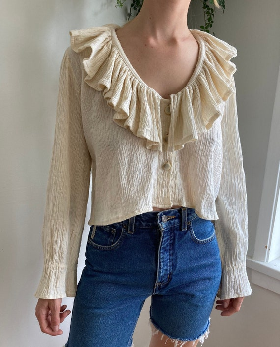 80s Cream Cotton Gauze Button Up Cropped blouse//