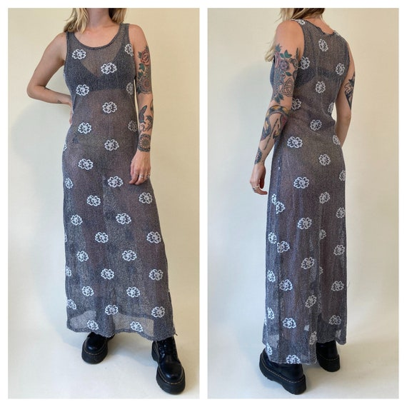 90s Grey Mesh Flower Maxi Dress // Hippie Daisy Sh