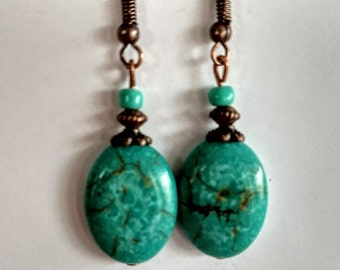 Turquoise Howlite earrings with copper