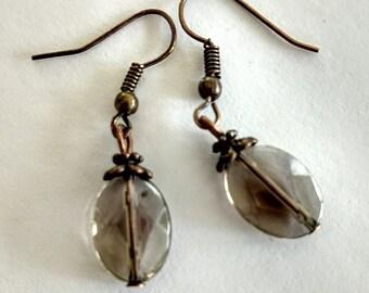 Smoky quartz copper earrings