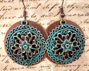 Large copper and verdigris earrings