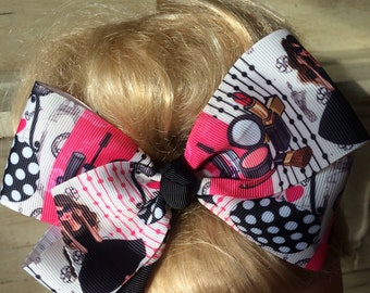 """Jojo Inspired Large 6"""" Boutique Hair Bow Clip"""