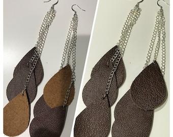 Brown Teardrop Earrings, Shoulder Dusters, Dangle Earrings