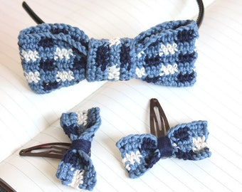 Gingham Bows Cute Hair Accessories. A Crochet PDF Pattern