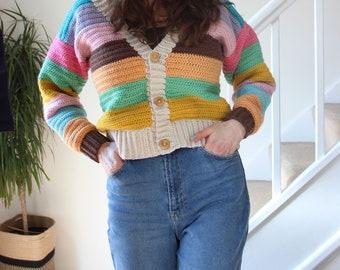 The Perfect Cardigan. A Striped Crochet Cardigan PDF written pattern.
