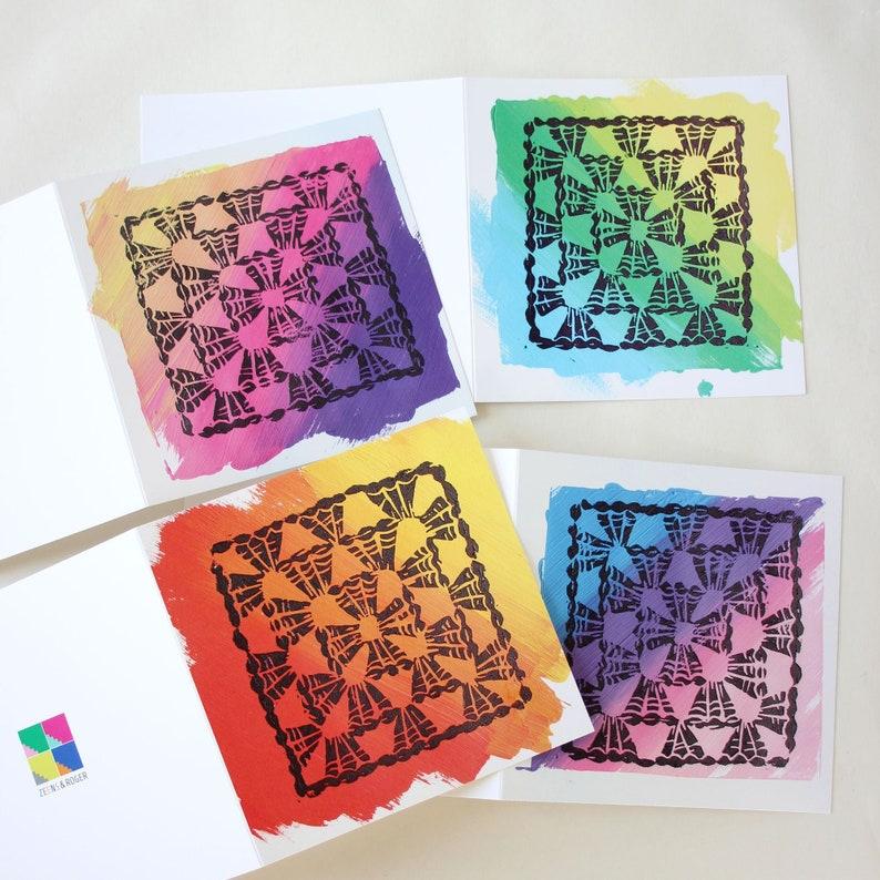 Crochet Granny Print Greeting Cards. image 0