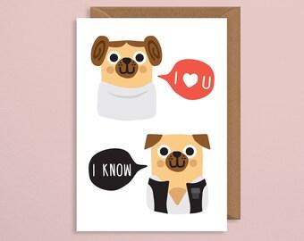 Pug Valentines Card Etsy