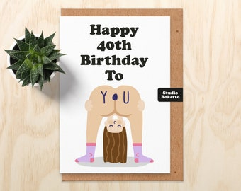 40th Birthday card, Funny Naked Woman 40th Birthday card For Girlfriend, Wife, Best Friend, Sister, Her, 40th Birthday Gift, Funny 40th Card