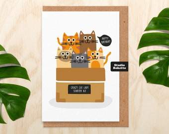 Birthday Card Cat Funny - Birthday Card Cat - Cat Lady Starter Kit - Birthday Card For Mum - For Sister - Funny Cat Birthday Card For Her