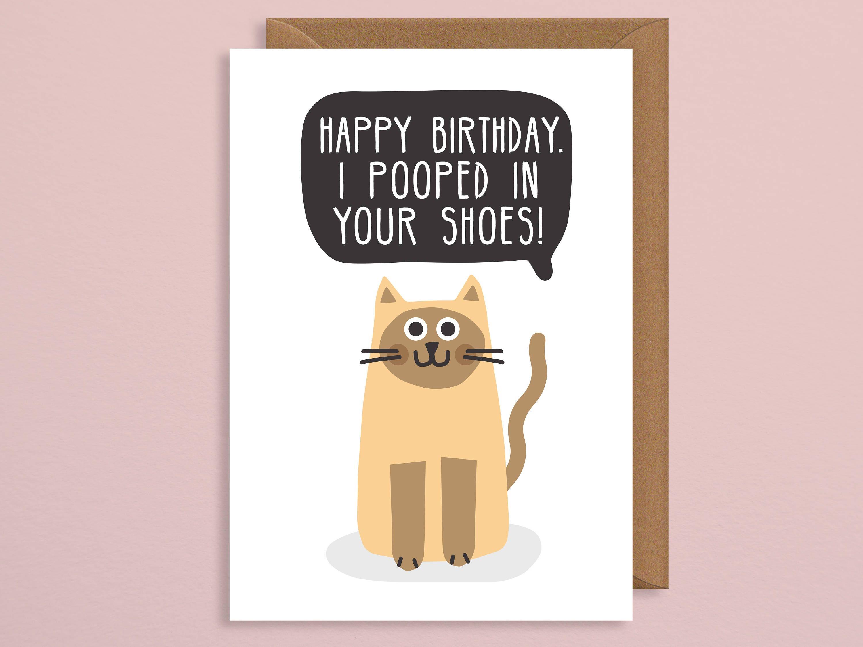 Cat Birthday Cardbirthday CardI Pooped In Your