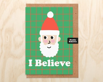 Cute Christmas Card, I Believe In Santa, Christmas Cards Handmade. Christmas Card Funny. Christmas Card Mum, Daughter, For Her, Wife, Silly