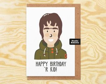 Birthday card boyfriend. liam gallagher. music birthday card. art. print. card. oasis birthday card. manchester . handmade greetings card.