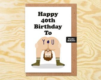 Funny 40th Birthday Card, 40th Card, Funny Naked Man 40th Birthday, For Boyfriend, Husband, Best Friend, Brother, Him, 40th Birthday Gift