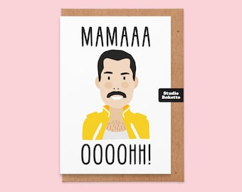 Funny mothers day card.Mama ooooh.freddie mercury.queen.mama mothers day card.greetings card.mothers day card.cheeky card.card for music fan