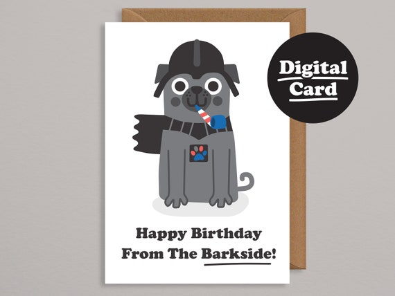 Printable Birthday Carddigital Cardpug Cardfunny