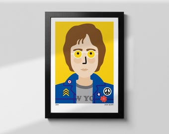 John Lennon Wall Art, The Beatles Music Poster, Indie Prints, Music Gift, Prints for Kitchen, Music Print Poster, A4, Home Decor Wall Art