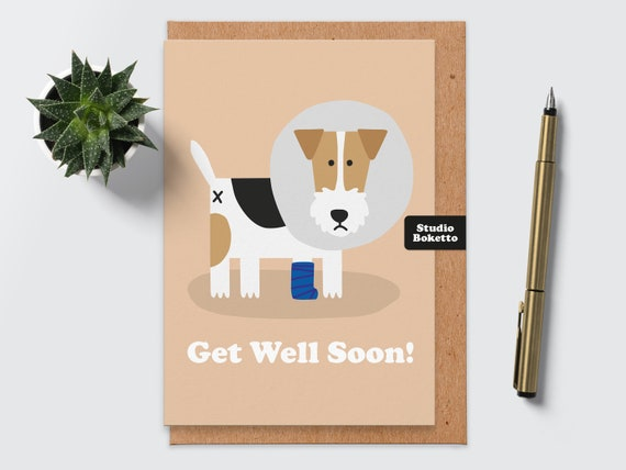 Get Well Dog Card Cute animal card best wishes For him  her Funny Get Well Card Get Well Soon Card Feeling Ruff Dog Greeting Card