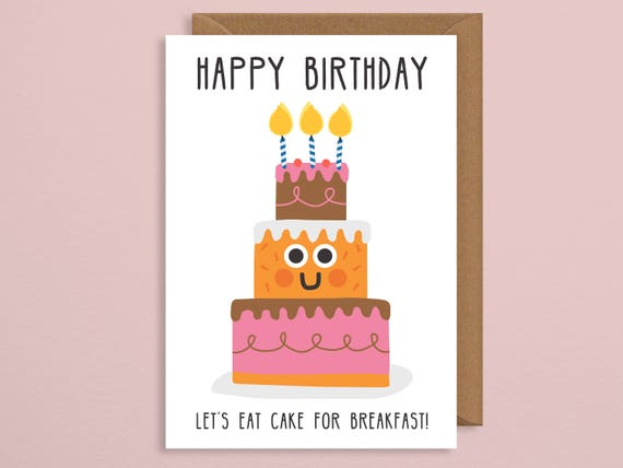 Funny Birthday Card Cake Greetings Card Happy Birthday Etsy