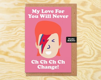 David Bowie Anniversary Card, Cool Music Love Card, Valentine't Card For Husband, For Wife, Anniversary Card, For Music Lover, Boyfriend