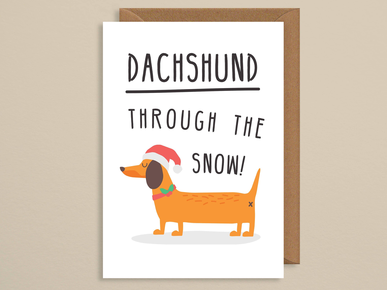 Christmas Card Funnyg Christmas Carddachshund Through The Etsy