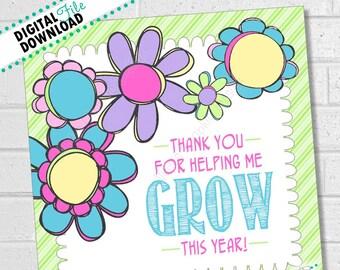 Teacher Gift, Teacher Appreciation Card, Flower Thank You Teacher Card, Teacher Thank You Flowers, Flower Gift Tags, Flower Gift | PRINTABLE