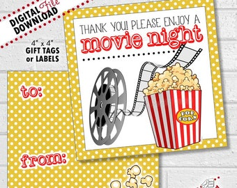 Teacher Gift, Movie Gift Cards, Teacher Appreciation Card, Teacher Gift Movie, Thank You Gift, Movie Gift Tags, Movie Labels | PRINTABLE