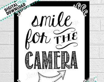 photo about Smile You Re on Camera Sign Printable identify Youre upon digital camera Etsy