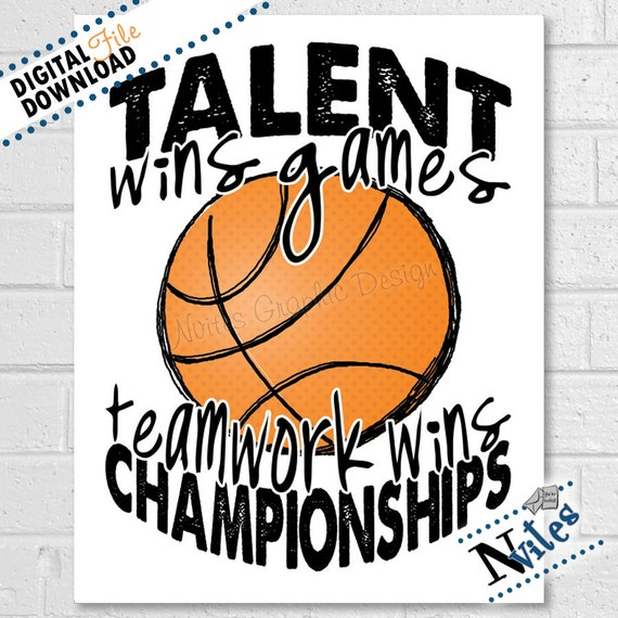 Basketball Printable, Teamwork Quote, Basketball Gift, Basketball Room  Decor, Art for Basketball Players, Player & Coaches Gift | PRINTABLE