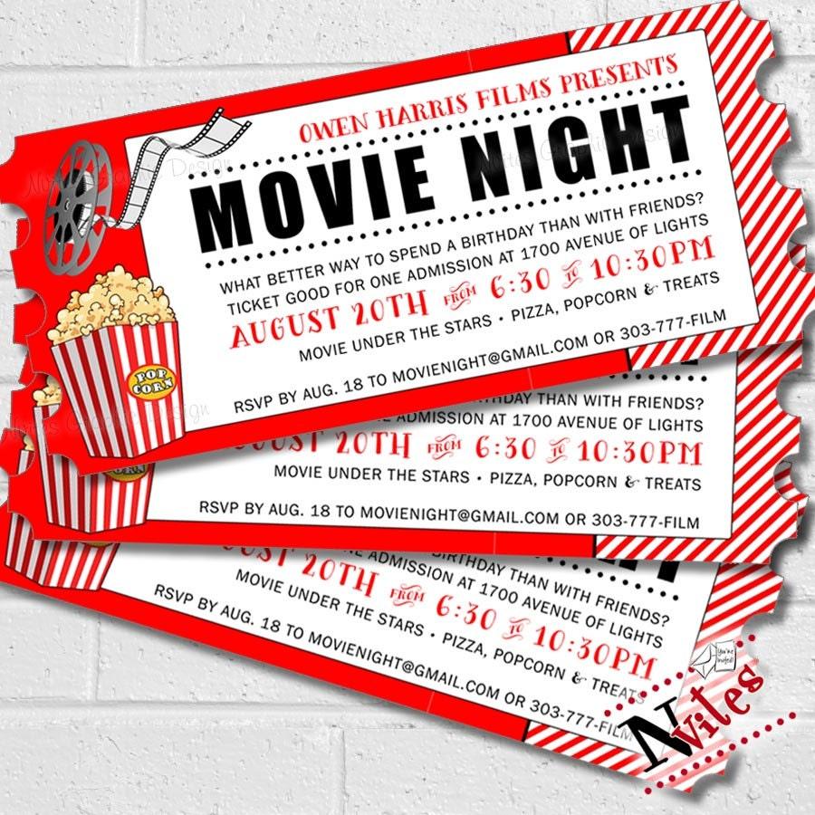 Movie Invitation Movie Night Party Movie Birthday Party | Etsy