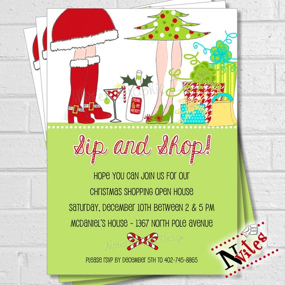 holiday shopping invitation sip  u0026 shop holiday open house