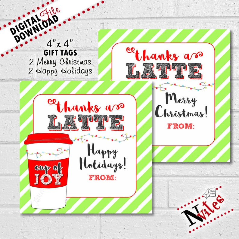 graphic relating to Thanks a Latte Christmas Printable named Xmas Espresso Present Card Tag, Espresso Reward Tags, Due a Latte Tags, Starbucks Reward, Trainer Items, Espresso Present Card Xmas PRINTABLE