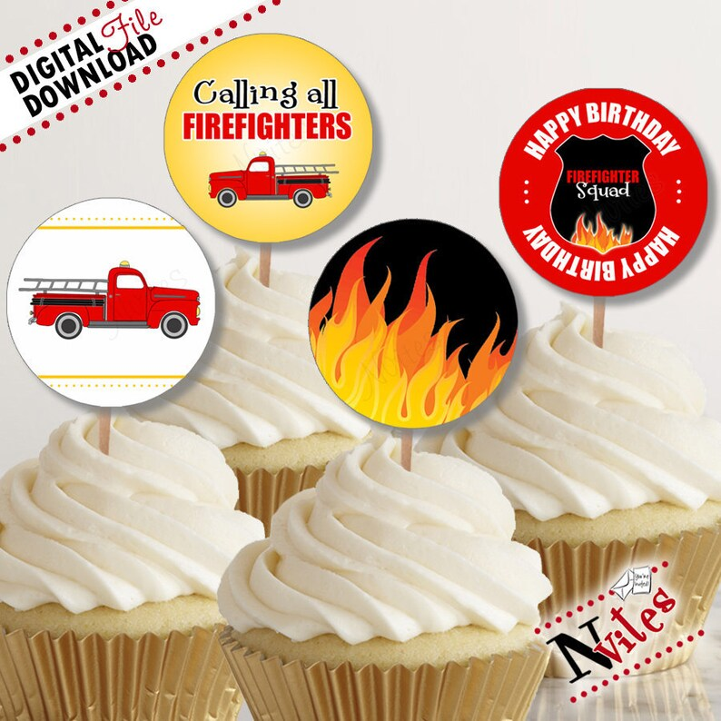 Fireman Party Cupcake Toppers Firefighter Cupcakes Fire Etsy