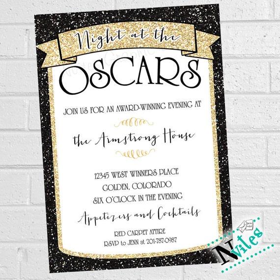 Oscar Party Invitation Academy Award Party Invite Movie Etsy