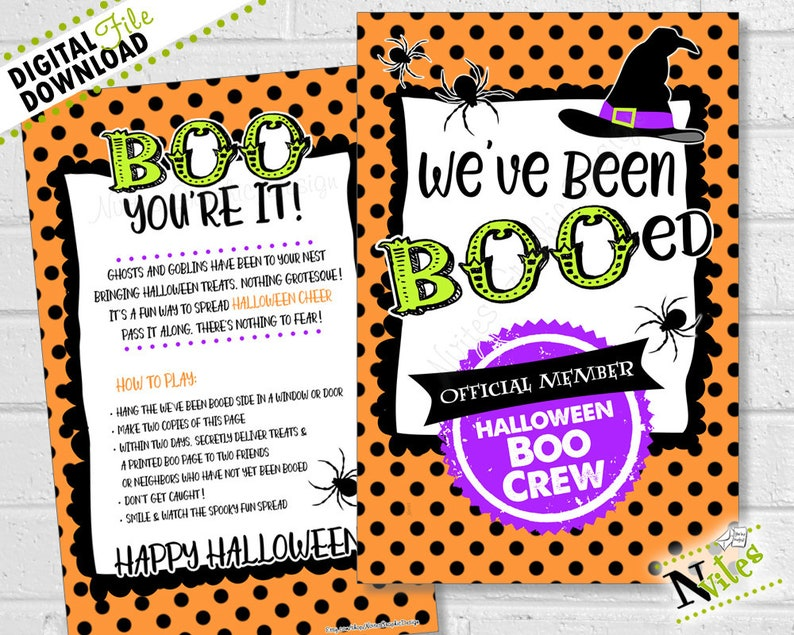 picture relating to You've Been Booed Printable Pdf titled Youve Been Booed, Weve Been Booed, Halloween Boo Recreation, Halloween Neighbor Snacks, Halloween Boo Notice, Children Halloween Recreation PRINTABLE