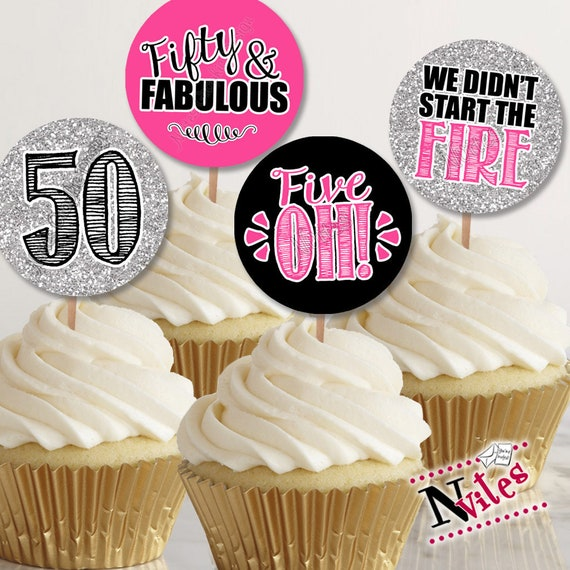 Birthday Cupcake Toppers 50th Party Favor Tags