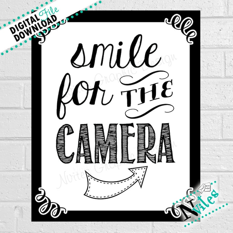 photograph about Smile You're on Camera Sign Printable named Picture Booth Signal, Smile for the Digital camera Signal, Youre upon Digital camera Signal, Image Prop Bash Decor, Photograph Booth Show, Image Booth PRINTABLE