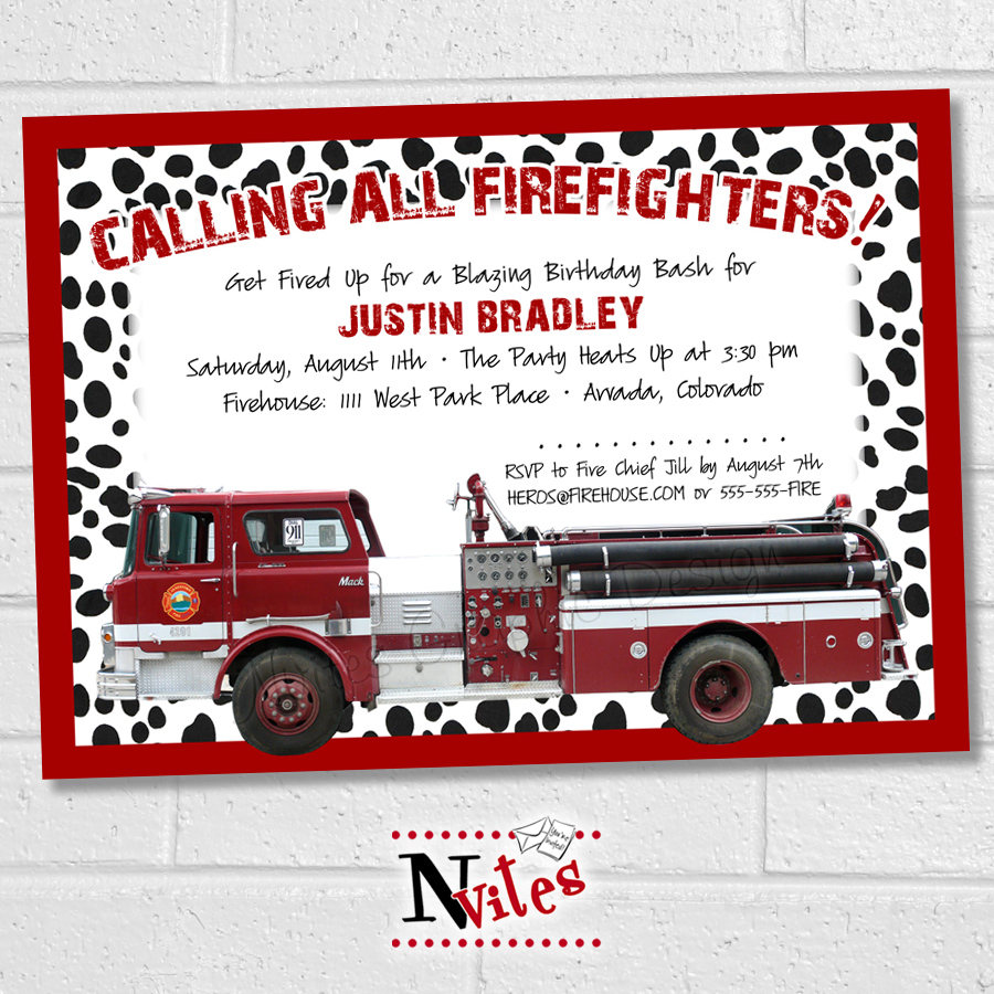 Fire Truck Party Invitation Firefighter Invitation Fireman | Etsy