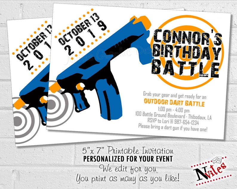photo relating to Nerf Gun Targets Printable named Dart War Get together Invitation, Dart Social gathering Invitation, Birthday Combat Invite, Foam Dart Gun Invite, Nerf Birthday Concept Invite PRINTABLE