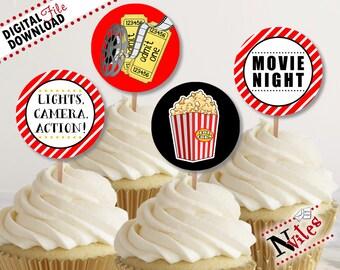 Movie Night Cupcake Toppers, Movie Party Cupcake Toppers, Movie Party Round Tags, Movie Night Party, Movie Birthday Party Tags   PRINTABLE