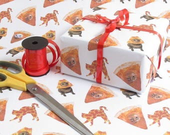 Space Pizza Cat Kitten Gift Wrap Wrapping paper Birthday Gift Wrap Present Wrapping Paper Bff Giftwrap Funny Wrapping Paper Pussy cat