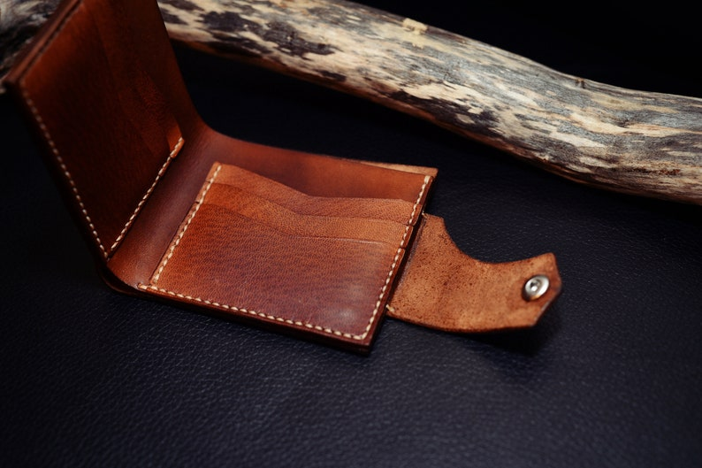 Hand tooling vegetable tanned leather handmade wallet Handmade in the USA motorcycle wallet