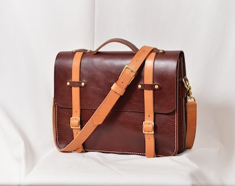 Leather briefcase , laptop bag, ipad bag, working bag, Handmade in the USA
