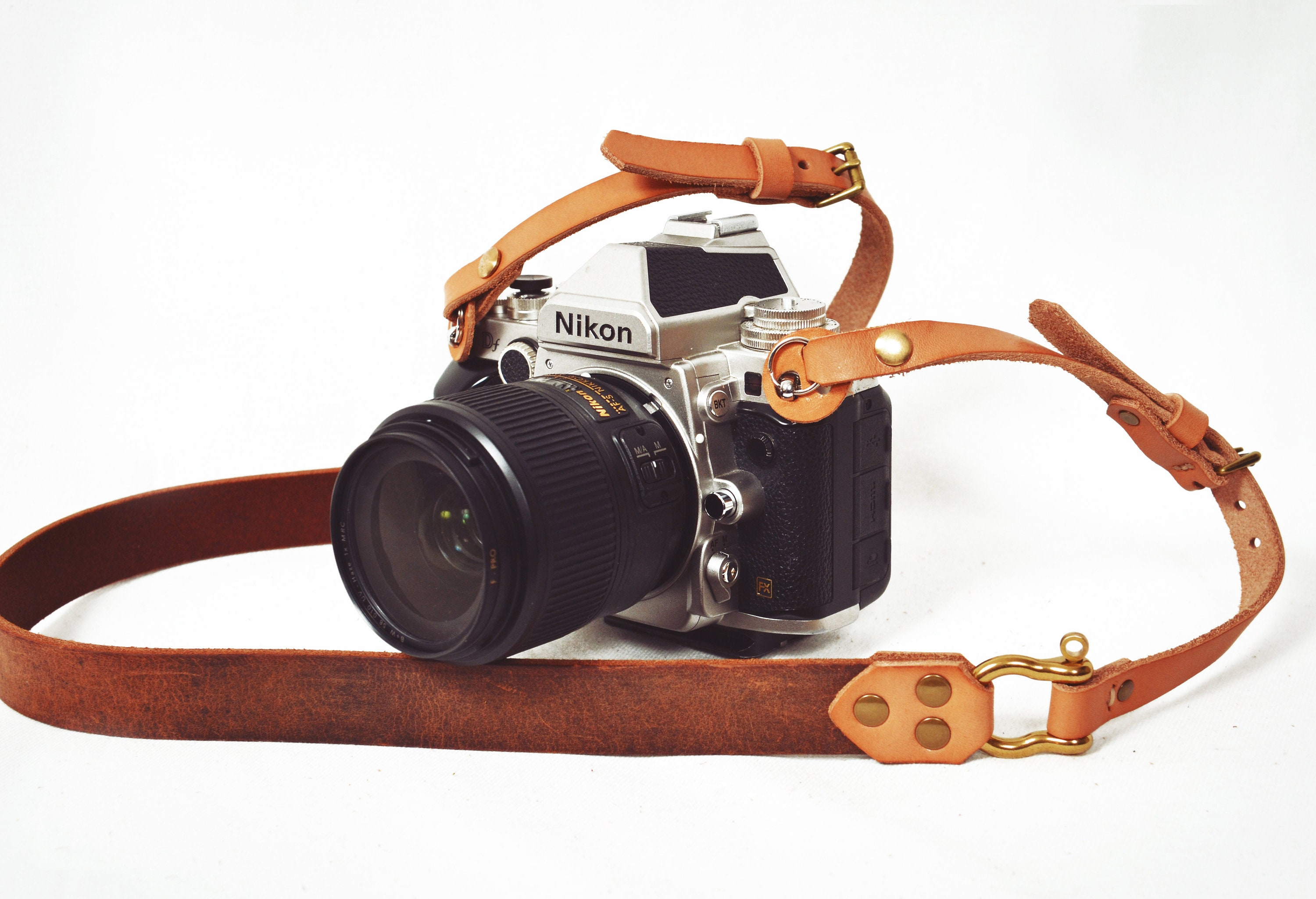 Handmade Leather and Suede Camera Straps in Blue Nordic and Blue Damask DSLR SLR Photo